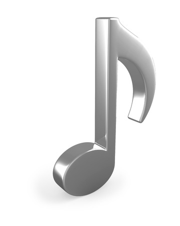 conservatory: Metal3D music note sign isolated on white background. Stock Photo