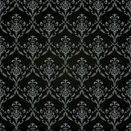 antique wallpaper: Seamless dark floral vintage vector background.