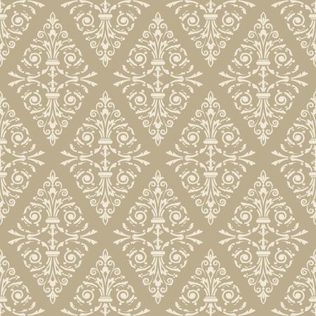 beige stof: Seamless light beige floral vintage vector background.