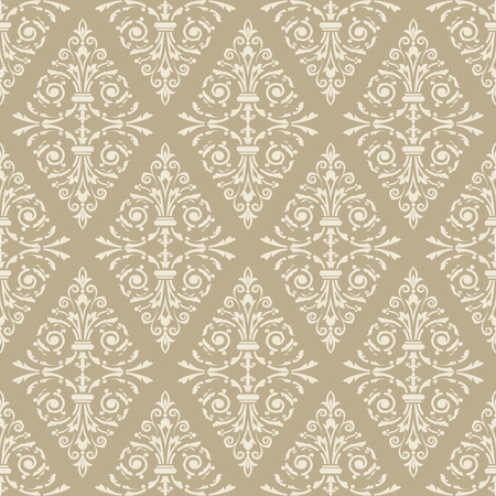 Seamless light beige floral vintage vector background.