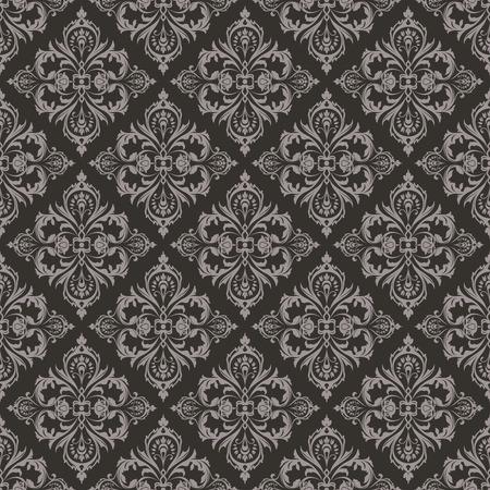 diamante negro: Fondo floral sin fisuras de color marrón oscuro de la vendimia del vector.