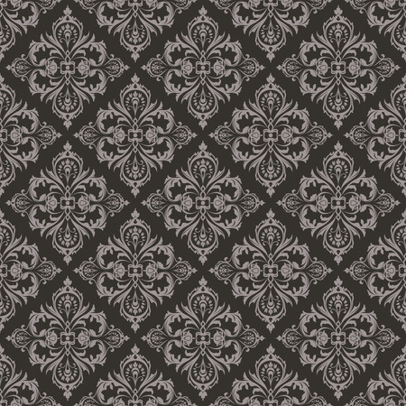 black swirls: Seamless dark brown floral vintage vector background. Illustration