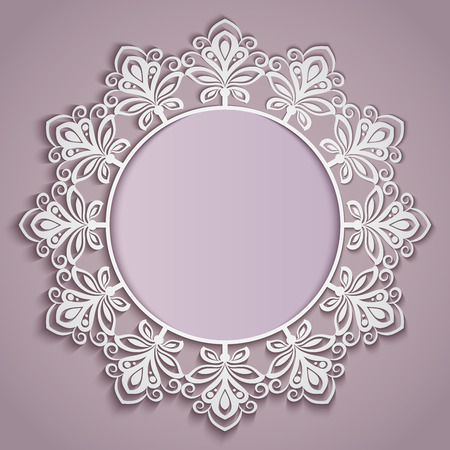 round: Abstract paper flower round frame vector template.