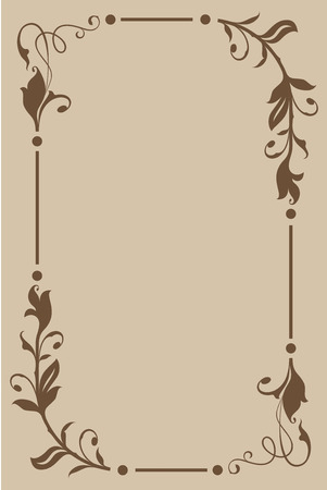 rectangular: Abstract beige and brown floral vintage frame design with copy space.