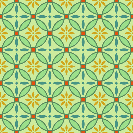 flower petal: Abstract seamless green and yellow circles vector pattern. Illustration