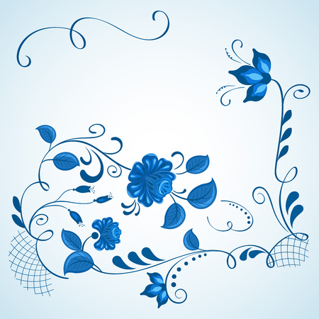 gzhel: Blue and white gzhel style vector background with copy space.