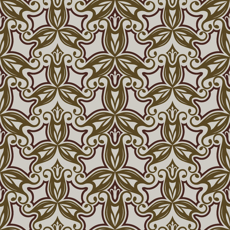 curly: Seamless beige and brown vintage floral vector pattern.