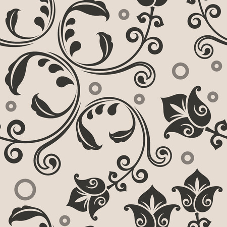 lowers: Seamless curly lowers beige vector pattern. Illustration
