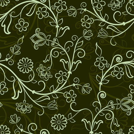 seamless floral pattern: Seamless dark green floral vector wallpaper pattern. Illustration