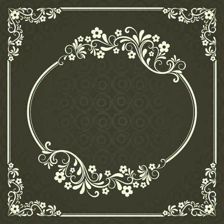 copy space: Abstract dark green floral vintage frame design with copy space.