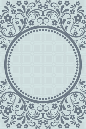 copy space: Abstract grey blue floral vintage card design with copy space.