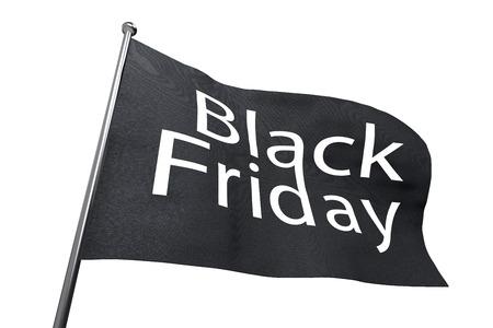 rebates: Big Black Friday waving flag isolated on white background.