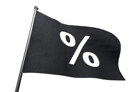 rebates: Big Black Friday waving flag with percent sign isolated on white background. Stock Photo