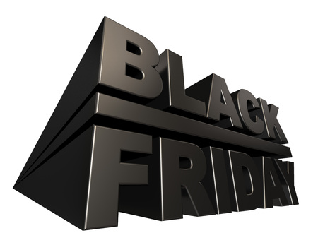 thee: Black friday 3D banner template isolated on white background. Stock Photo