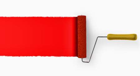 Paint roller covering wall with red color background.