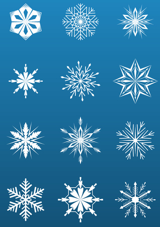 decoration design: White snowflake shapes on blue background vector illustration.