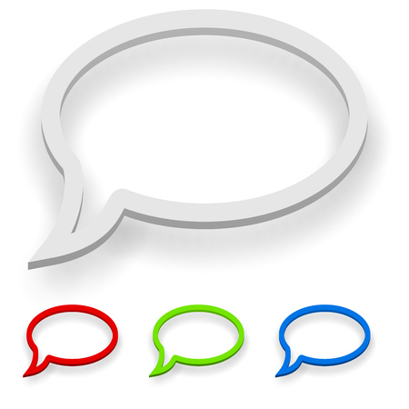 speak bubble: Abstract 3D speech balloon outline with copy space.