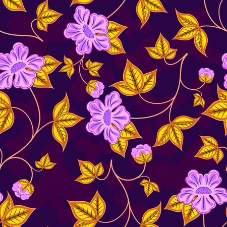 lacework: Seamless abstract flower purple and yellow vector wallpaper.