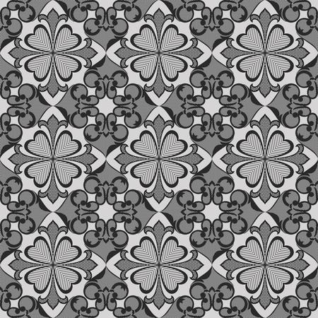 hatchwork: Seamless abstract flower monochrome vector wallpaper. Illustration