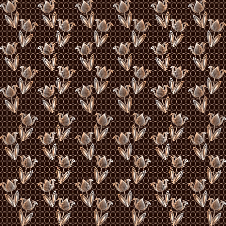 lace vector: Seamless brown lace vector background with flower pattern. Illustration
