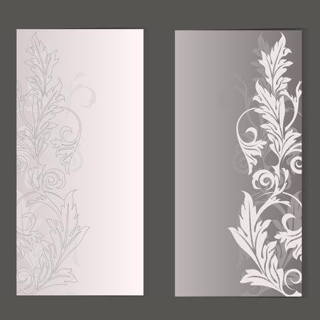 variants: Beige floral card vector template in 2 variants. Illustration