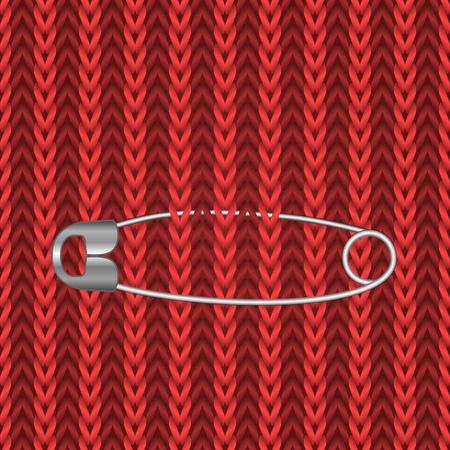safety pin: Metal safety pin on the red knitting seamless background. Illustration
