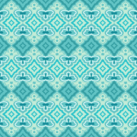 Seamless teal and green abstract geometric vector wallpaper. Stock Illustratie