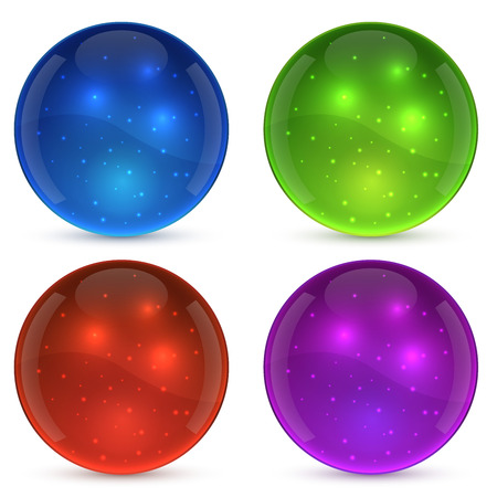 color balls: Color shiny glass ball isolated on white background. Illustration