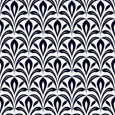 black and white: Seamless black and white leaves vector pattern.