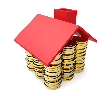 values: Gold coins under red house roof concept isolated on white background. Stock Photo
