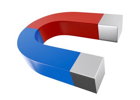 Horseshoe shaped magnet isolated on white background.