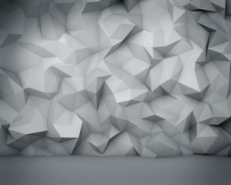 추상 흰색 다각형 벽 배경입니다.