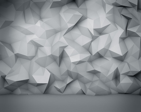 rendering: Abstract white polygon wall background. Stock Photo