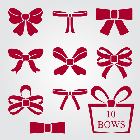 red bow: Flat design red bow shapes vector set. Illustration