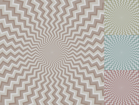 mesmerize: Circular zig-zag stripe vector background with color variants.