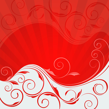 floral border: Abstract floral wave red and white vector background. Illustration