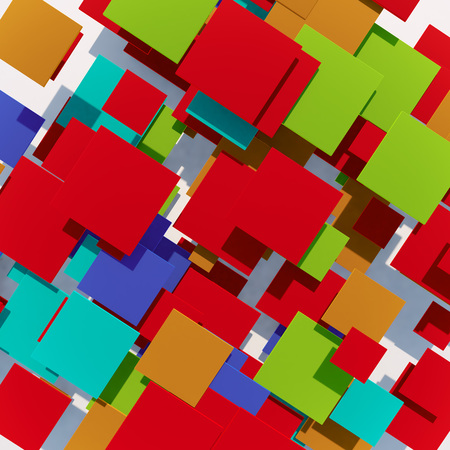 squares background: Abstract colorful squares 3D background. Stock Photo