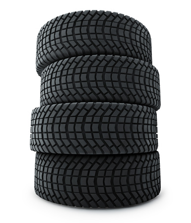winter tires: Stack of automobile winter tires isolated on white background.
