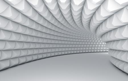 Tunnel blanc abstrait avec des murs texturés pyramidaux. Banque d'images