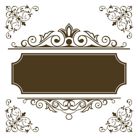 vintage sign: Vintage frame vector template with copy space.