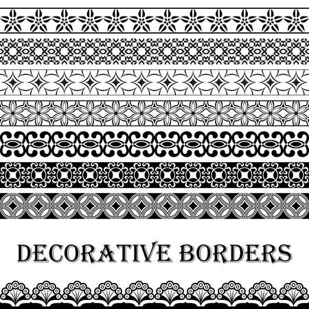 floral decoration: Seamless vintage black and white decorative vector border ornament.