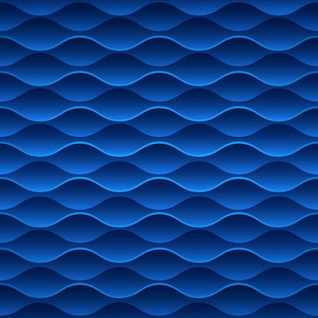 Blue seamless wavy geometric vector wallpaper pattern.