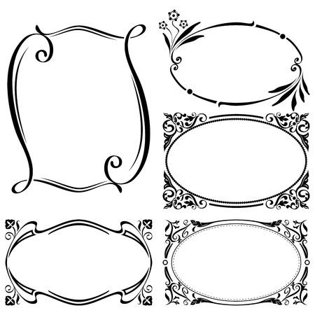 ovalo: Resumen de vectores de las plantillas de la vendimia marco con el espacio de la copia.