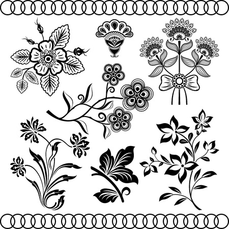 Floral vintage vector design elements isolated on beige background. Set 30.