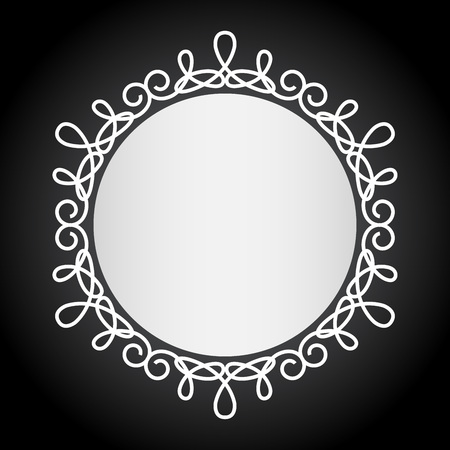 frame vector: Simple vintage black and white round frame vector template.
