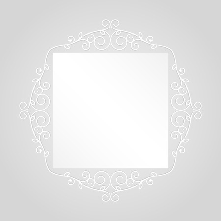 square frame: Simple vintage white square frame vector template.