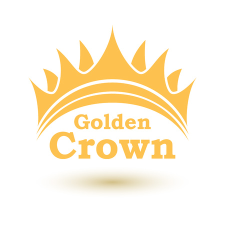 kingdom: Simple golden crown emblem vector template with copy space.