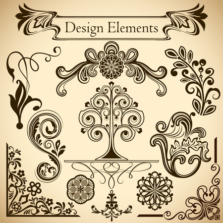 curly: Floral vintage vector design elements isolated on beige background. Set 31.