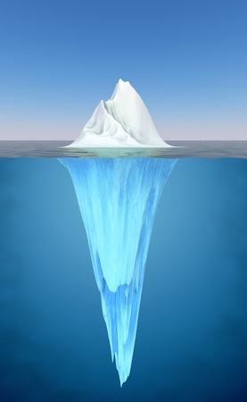 hidden danger: Iceberg floating in the water realistic illustration.