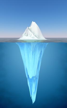 hidden danger: Iceberg floating in the water realistic illustration.